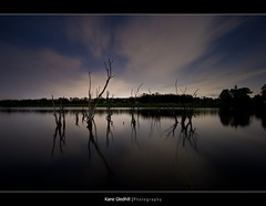 Sticks in the night. ([ Kane ]) Tags: cloud moon lake tree water night reflections sticks mt full fullmoon explore cotton kane gledhill kanegledhill vosplusbellesphotos humanhabits kanegledhillphotography