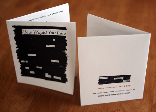 NEWSPAPER BLACKOUT POEMS VALENTINES DAY CARD