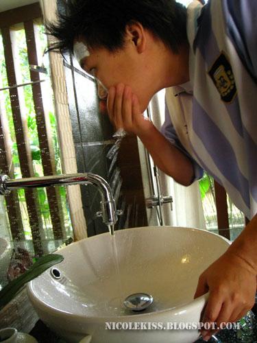 casey washing mask off face 1