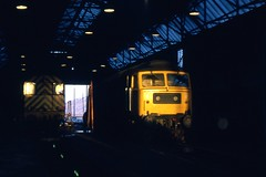 Class 47 47174 Wath 24/2/79. (Stapleton Road) Tags: shunters depots night class47 namers wath railway engine diesel railwayphotography brush type4 uk rail train locomotive 47174 sunrise 1979 sulzer engineshed class08 08749 dawn morning early trainspotting