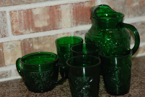 My vintage green glass set by you.