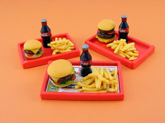DollHouse Miniature 1/12th Scale McDonald's Meal (Shay Aaron) Tags: food house miniature doll fake frenchfries sandwich chips mcdonalds polymerclay cheeseburger icecream hamburger meal tray cocacola veggies dollhouse