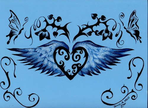 Winged Heart Tattoo Design by Denise A. Wells