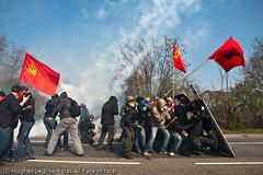 (Hughes Lglise-Bataille) Tags: red france topf25 turkey riot topf50 flag protest gaz flags gas communist strasbourg demonstration violence shield tear grenade riots 2009 turkish fra nato manifestation marxist drapeau kurd leninist otan turc mlkp kurde lacrymo