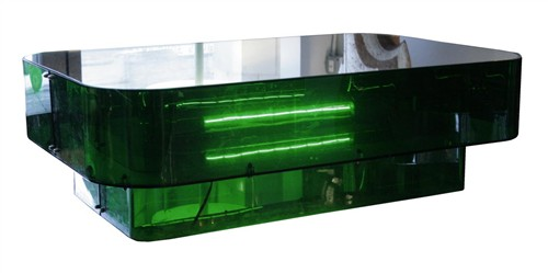 Electrified Plexiglas and Mirrored Glass Low Table by Ron Ferri