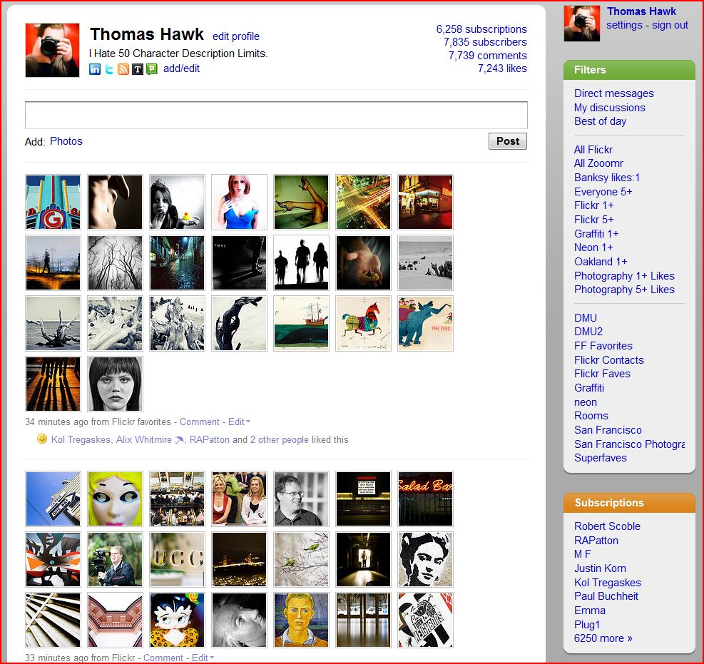 My FriendFeed Profile Page With Expanded Flickr Uploads and Flickr Faves