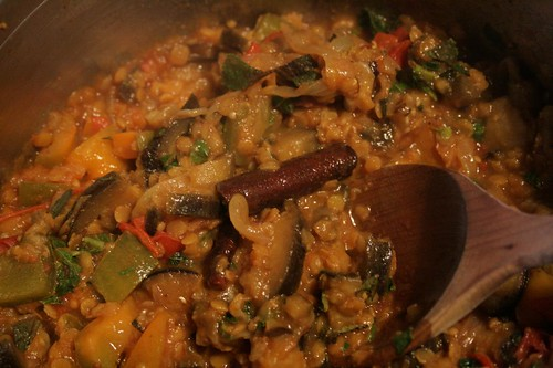 Curried aubergines with red lentils
