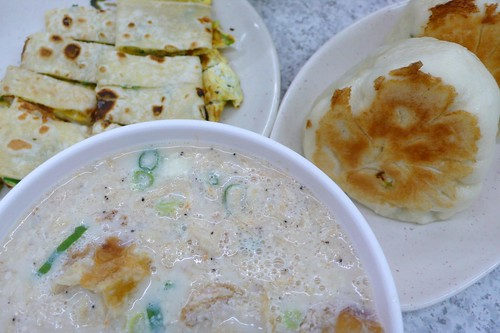 salty soy milk, cabbage bun, and egg tortilla, taipei