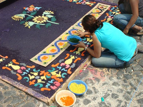 Creating alfombras (flower carpets) in Antigua for the semana santa (easter) celebrations...
