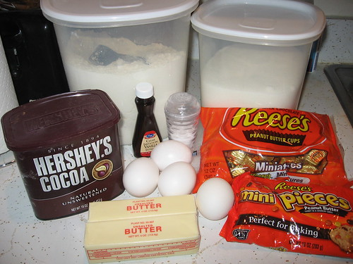 Reeses Pieces PB Brownies Ingredients