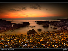 Rest Bay at sunset (opobs) Tags: sunset sea sky beach wet water southwales wales evening seaside rocks wideangle pebbles explore canon5d bridgend porthcawl restbay 1740mml cokinfilters ppps countyboroughofbridgend opobs michaeljstokesawpf pyleporthcawlphotographicsociety