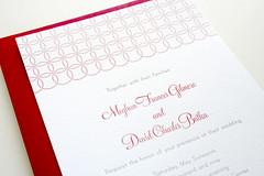 Modern Fête (Sarah Parrott) Tags: wedding red tree modern circle polkadots invitation dots letterpress rsvp bellyband woodveneer lettra