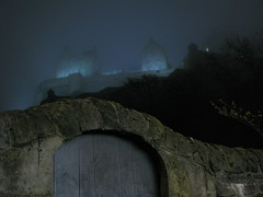 Atmos-fear-ic (Pangaia (en velo)) Tags: mist castle misty fog night scotland edinburgh moody darkness edinburghcastle dream foggy atmosphere mysterious mystical dreamscape moodyspooky creativecomments