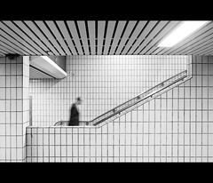 Up and down (markpritchard.) Tags: light white black london up station vertical horizontal train canon dark underground person early movement cross graphic geometry tube down explore tiles commute charing commuter framing handrails markpritchard g9