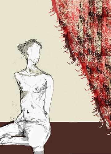 una mujer y una cortina hecha con retazos