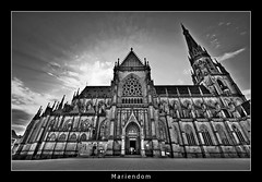 Shining (nune) Tags: travel sky blackandwhite bw church architecture linz austria wideangle dome shining 2009 mariendom skyarchitecture monochromia platinumheartaward