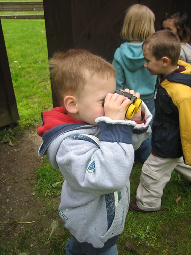 Checking out the birds with binoculars