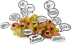 The Grapes Secret Society (RR) Tags: food playing silly art dusty goofy fruit ink fun dorothy with faces wine baloon humor cartoon vine fruta grapes drawn talking drama uva grape raisin brunello anthropomorphic playingwithfood anthropomorph weintraube talkies zm antropomrfico antropomorfico anthropomorphe brincandocomacomidablog