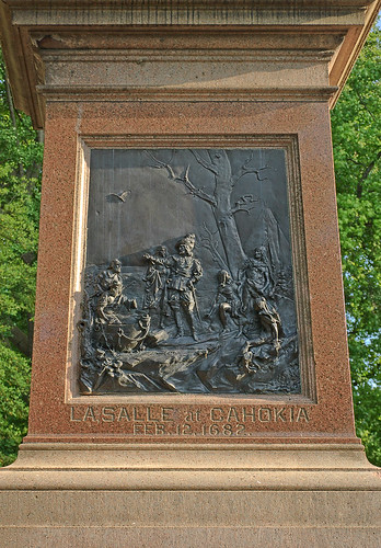 Tower Grove Park, in Saint Louis, Missouri, USA - plaque of La Salle at Cahokia, on statue of Christopher Columbus