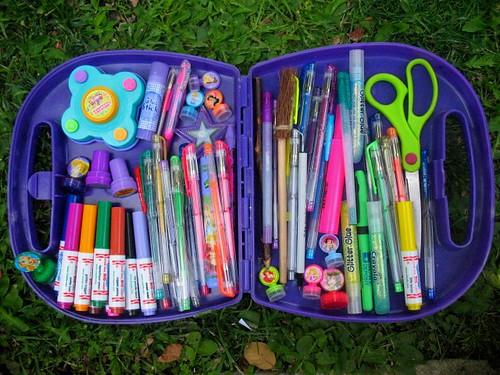 colorful craft plastic supplies tolbox