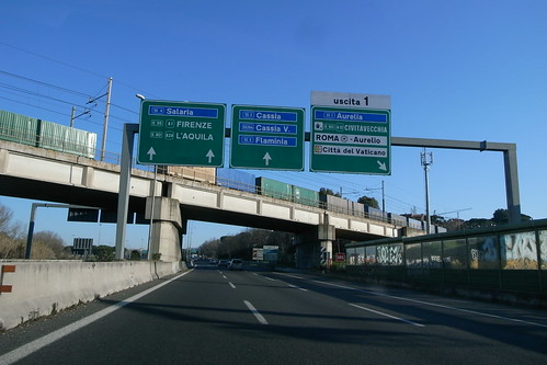 Signboard at Autostrade in Italy