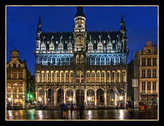 Grand Place, Brussels (Mike G. K.) Tags: old windows brussels reflection architecture reflections square lights belgium grandplace stones arches symmetry cobblestones raining paved blending twinkles exposureblending photomatix 3exp mikegk:gettyimages=submitted