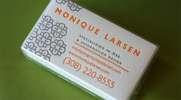 Monique Larsen Letterpress Business Cards