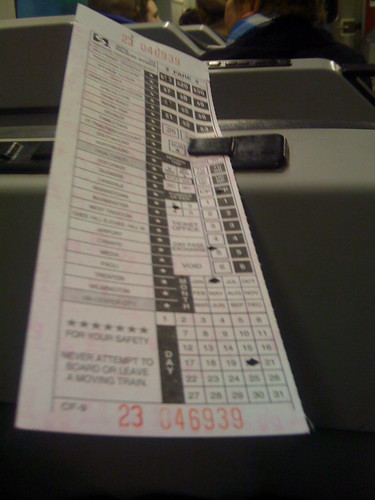 Old school ticketing on the Philadelphia trains