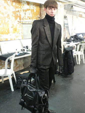 Chris and Tibor bags for Juun. J 2009/10 AW collection, Paris Mens Fashion Week backstage