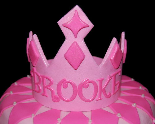 Pink Princess Cake with Tiara Crown closeup