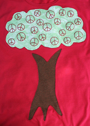 Peace tree t-shirt close-up