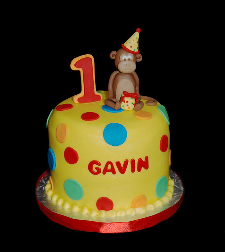 1st birthday bright polka dots cupcake tower topper cake with monkey