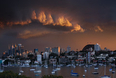 Sydney Midwinter Stormy Sunset (Bruce Kerridge) Tags: sunset sky cloud storm water landscape gold nikon day cityscape harbour dusk sydney australia d80 australiathunderstorms