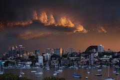 Sydney Midwinter Stormy Sunset (Bruce Kerridge) Tags: sunset sky cloud storm water landscape gold interesting nikon day cityscape harbour dusk sydney australia d80 australiathunderstorms