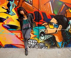 Asian Woman Standing Against Graffiti Wall, San Francisco, CA 2010 (Henry Navarro) Tags: ocean california street city urban motion canon landscape oakland golden bay gate san francisco chinatown market district models creative pr