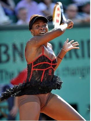 Tennis star Venus Williams in action at French Open
