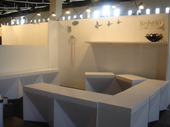 Exhibition furniture for Lightly using X-Board Print