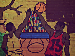 Reaching For The Basketball, 7th Street, NW, Howard University District, Washington, DC (Gerald L. Campbell) Tags: street urban black graffiti washingtondc dc washington paintings streetphotography wallart males dcist urbanphotography canong10
