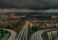 Safeco field, The Port of Seattle and the End Of The Road (I-90) (Michael Holden) Tags: seattle urban panorama rain clouds sunrise washington skyscrapers freeway safeco rizal safecofield i90 hdr portofseattle fav10