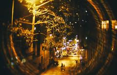 gold against the soul (hurtingbombz) Tags: street tree rain night lumix hongkong bokeh f14 panasonic flare 26mm toylens gx1 slrmagic