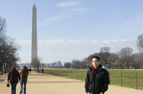 Logan Lo in front of the Washington Monument