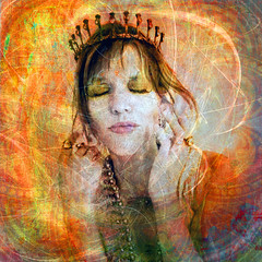 Princess Of Self Esteem (ElenaRay) Tags: wedding portrait woman tiara halloween fashion self happy bride costume high eyes closed princess circus feminine joy goddess dream style peaceful icon queen inner glorious fantasy believe crown meditation bridal jewels performer dreamer feminist royalty harlequin confident mystique wealth coronation confidence esteem satisfied