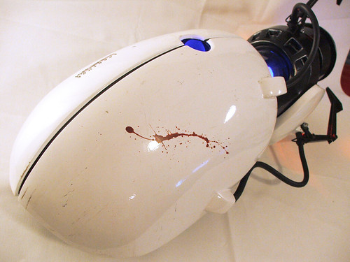 blood splatter. Portal gun, lood splatter