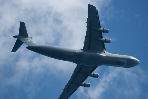 US Air Force Plane Flies Overhead