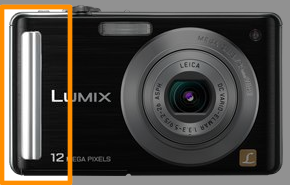 Compared to the FS15, the Panasonic DMC-FS25 has a prominent vertical grip