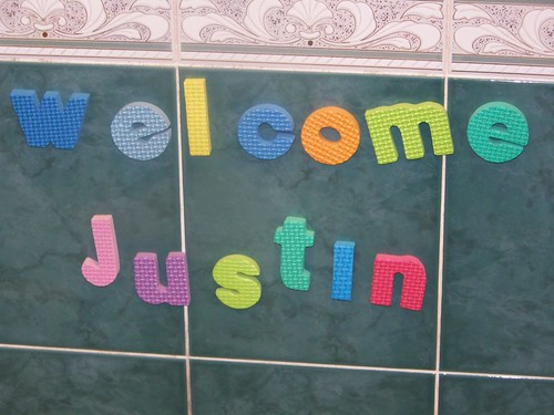 Banner showing welcome Justin