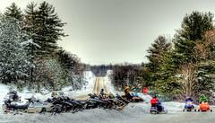 Sledding in Muskoka Canada (Ed Boutilier) Tags: muskoka sleds snowmobile basslakelodge