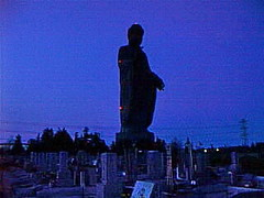 tklast12 Ibaraki Daibatsu, Japan 2000 (CanadaGood) Tags: blue sunset sculpture color colour monument statue japan night japanese evening asia 2000 buddha buddhist buddhism daibutsu ibaraki 2000s ushiku canadagood