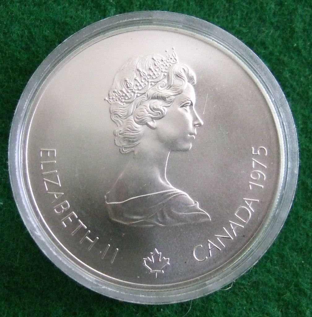 CANADA, 1976 MONTREAL OLYMPICS 5 DOLLARS SILVER 1975 a