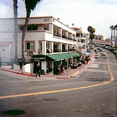 Beach-Town Business (Brian Auer) Tags: ocean california road street usa color film beach outside lomography unitedstates pacific cloudy kodak outdoor toycamera 120format naturallight diana photowalk sanclemente asa100 75mm negativecolorfilm ektar100 photowalking032909